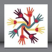 Helpful circle of hands vector. — Stock Vector