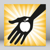 Hand holding an apple design. — Vector de stock