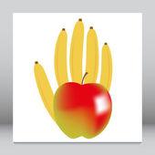 Healthy fruity banana and apple hand. — Stock Vector