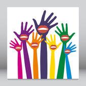 Lip hands party design. — Stock Vector