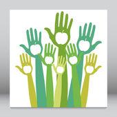 Healthy apple hands design. — Stock Vector