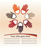Circle of colorful hands with copy space vector. — Stock Vector