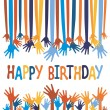 Excited hands birthday card design. — Stock Vector #26871289