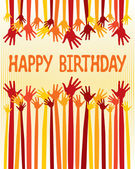 Excited hands birthday card design. — Stock Vector