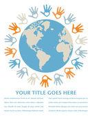Conception de paix et l'unité monde coloré. — Vecteur