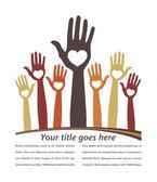Loving hands leaflet design. — Stock Vector