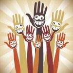 Crazy face hands design — Stock Vector #26923457