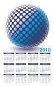 Coloridos vetores de calendário 2010 globo digital — Vetor de Stock