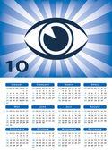 Eye sunburst 2010 calendar vector — Stock Vector