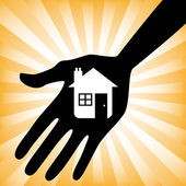 Hand holding a house icon design — Stock Vector