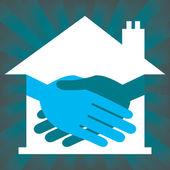 Property or real estate handshake design — Stock Vector