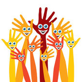 Hands with happy faces design — Stock Vector