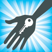 Hand holding a house key design — Stock Vector