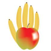 Healthy fruity banana and apple hand — Stock Vector