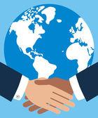 Business handshake symmetry vector. — Stock Vector