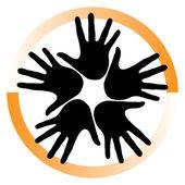 多彩手的圈子 — 图库矢量图片