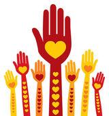 Kleurrijke liefdevolle handen ontwerp — Stockvector