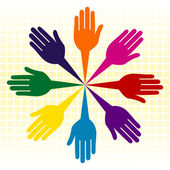 Circle of colorful hands — Stock Vector