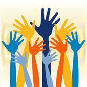 Large group of happy hands — Stock Vector
