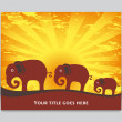 Elephant family at sunrise or sunset — Stock Vector #27483669
