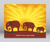 Elephant family at sunrise or sunset — Stock Vector