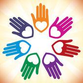 Barevné sjednocené milující ruce designu. — Stock vektor