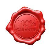 Sello de cera roja - garantie 100 - aislado — Foto de Stock
