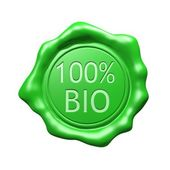 Green Wax Seal - 100 BIO - Isolated — Stock Photo