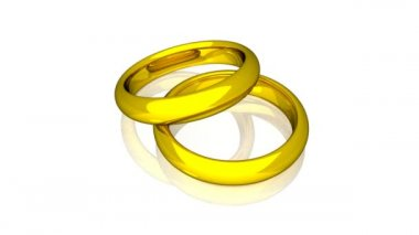 обручальные кольца - золото - анимация — Стоковое видео