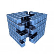 Stock Photo: 3D Blue Cube - Separation