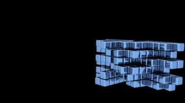 Blue Cubes - Assembly - Animation — Stock Video