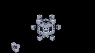 3D Cubes - Assembling Parts - 2 Colors — Stock Video