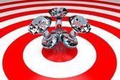 3d häftstift på mål - diamond — Stockfoto