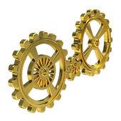 Realistic Cogwheels - Gold — Stock Photo
