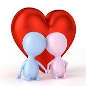 Couple et grand coeur — Photo
