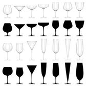 Set of Glasses for Alcoholic Drinks - ISOLATED — Stock Photo