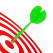Stock Photo: Green Dart On Red Target