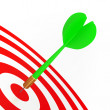Green Dart On Red Target — Stock Photo