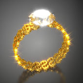 "Gold Ring ""Dollars and Diamond"" — Stock Photo"