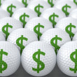 Stock Photo: Golf Balls with Green Dollar Sign