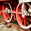 Stock Photo: Steam engine wheels