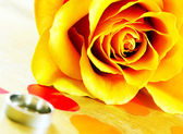 Yellow rose and wedding ring. — Stock Photo