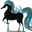 Stock Vector: Horse with blue mane