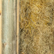Stock Photo: Hay bails in barn for horse feed