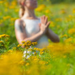 Woman meditating in meadow of yellow flowers — Stock Photo #25953527