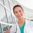 Nurse with clipboard — Stock Photo