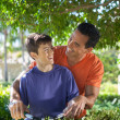 Father and son doing yard work together. — Stock Photo #25955099