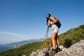 Girl in mountain — Stock Photo