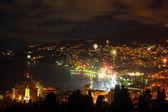 Night view and firework at Yalta city, Crimea, Ukraine — Stock Photo