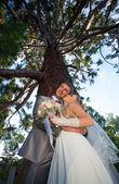Novio y la novia feliz — Foto de Stock